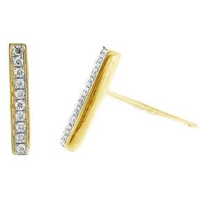 BONY LEVY 18k Gold Diamond PRISM Bar Stud Earrings